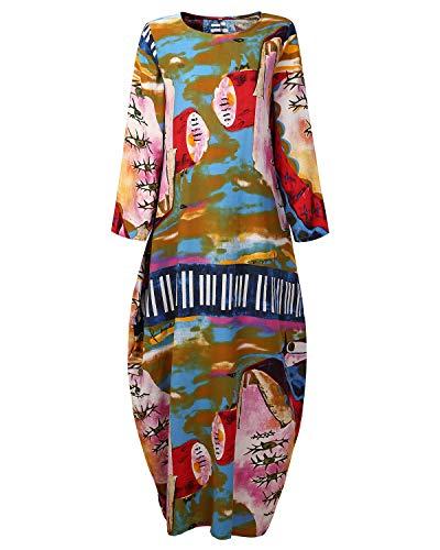 AUDATE Damen Leinenkleid Lang Laterne Lose Kleid Langarm Frühling Herbst Plus Size Kaftan Farbenfroh DE 48 (Winter Stiefel Kleid Frauen Für)