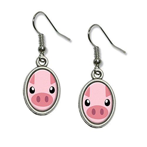 men Farm Animal Schwein NEUHEIT Dangling Drop oval Charm-Ohrringe (Schwein Ohr Kostüm)