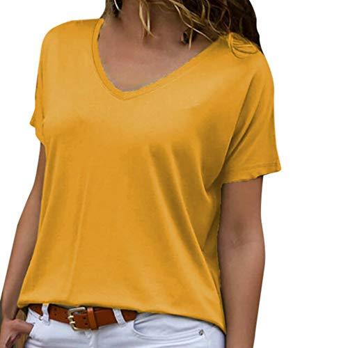 TOPSELD T Shirt Damen, Frauen Fashion Solid Lose V-Ansatz Kurzschluss HüLsen BeiläUfige Spitzenbluse T-Shirts