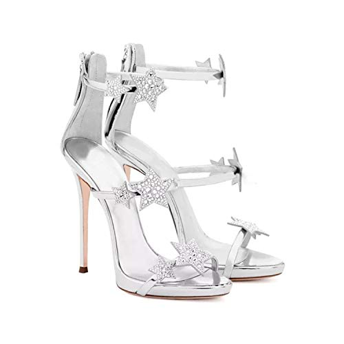 EARIAL& Summer One Word Cingulum Sandals Women Sexy Thin Heel Crystal Stars Adorned Peep Toe Banquet High Heel Woman Sandal Silver 8.5 (Sexy Disney Stars)