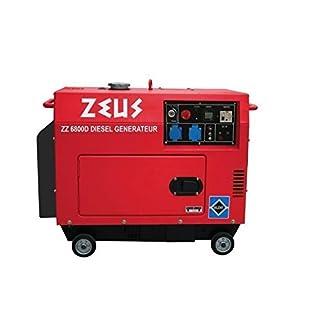 ZEUZ ZEUZ6800D MF6800D Groupe Electrogène Diesel 5000W Démarrage Electrique, Rouge