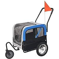 Festnight- Remolque y Carrito de Bicicleta para Mascotas 2-en-1 Gris Azul