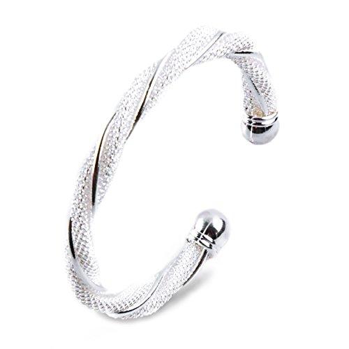 eif – mit 925 Sterling-Silber überzogen – inkl. Zertifikat & Schmuck-Beutel im Set – edles Damen-Armband für jeden Anlass (Armreifen Armbänder Sets)
