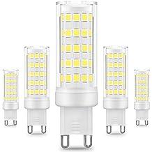KINDEEP G9 Bombilla LED - 8W / 650LM, 75W Bombilla Halógena equivalente 360 grados ángulo de haz Omni Directional, Blanco frío 6000K, CRI > 80, Pack de 5