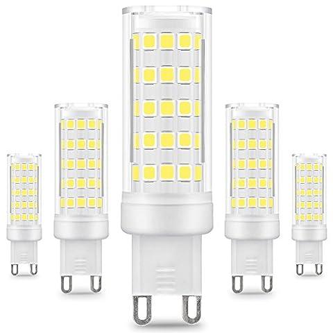 KINDEEP Energy Saver Ampoule LED, Culot G9 - 8W / 650LM ( Equivalent 75W Ampoules halogènes/ Incandescente ) Blanc Froid 6000K, 360° angle de faisceau, 220-240V, Lot de 5