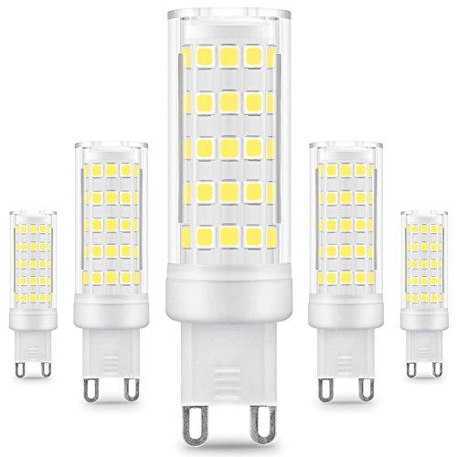 KINDEEP G9 lampadina LED - 8W / 650LM, equivalente di lampadine alogene da 75W, Bianco Freddo 6000K, 360° Angolo a fascio, 5-Pack