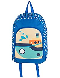 SumacLife 14inch Kids Backpack School Bag With Durable Zipper Pockets And Side Water Bottle Pocket (Boats)