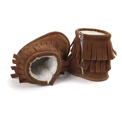 Ouneed® Krabbelschuhe , 0-18 Monate Baby Schneestiefel halten Warm Doppelstock Quasten weiche Sohle weiche Krippe Schuhe Kleinkind Stiefel Khaki