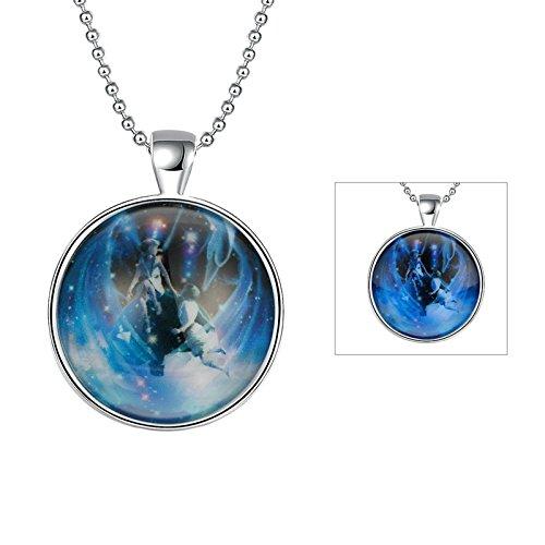 Halskette mit Nachtleuchtend Halloween / Weihnachten Geschenk Silber Farbe Zwillinge (blau) Anhänger Halskette Kette 60cm (Baby-zwillinge Halloween)