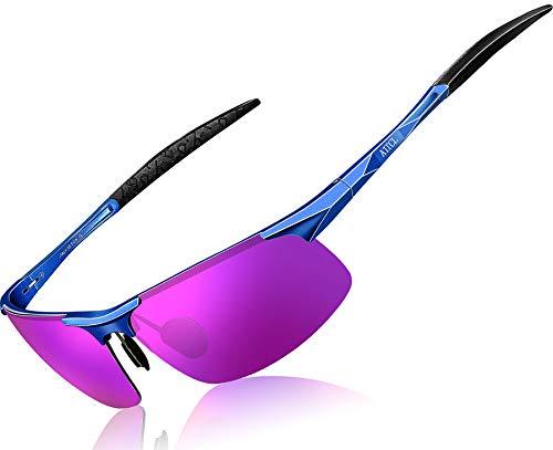 ATTCL Herren Polarisierte Treiber Glasses Sport Sonnenbrille Al-Mg Metallrahme Ultra leicht 8177 Blue-purple