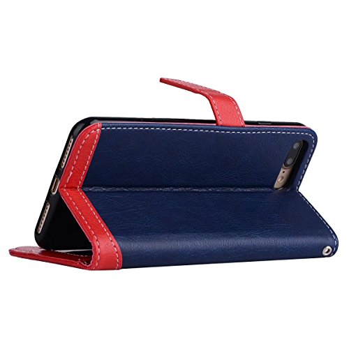 Hülle für iPhone 7 plus , Schutzhülle Für IPhone 7 Plus, Litchi Texture Dual Farbe Stitching Pattern Synthetik Leder Tasche Cover Flip Stand Fall mit Lanyard & Card Slots ,hülle für iPhone 7 plus , ca Blue
