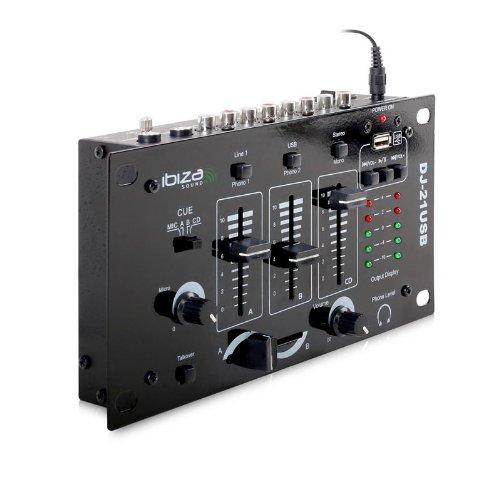 Ibiza DJ-21 Mixer DJ a 3/2 canali stereo professionale (USB, 2 ingressi microfono, talkover)