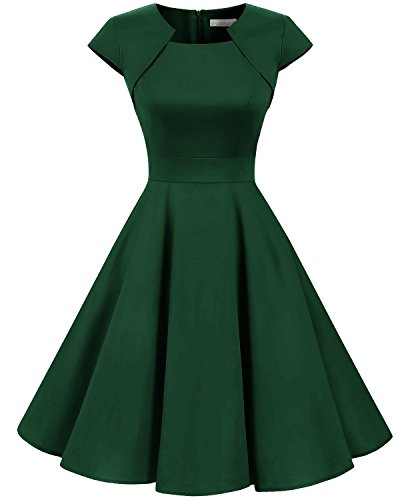 Homrain Damen 50er Vintage Retro Kleid Party Kurzarm Rockabilly Cocktail Abendkleider Green XL
