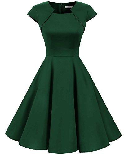 Homrain Damen 50er Vintage Retro Kleid Party Kurzarm Rockabilly Cocktail Abendkleider Green 3XL