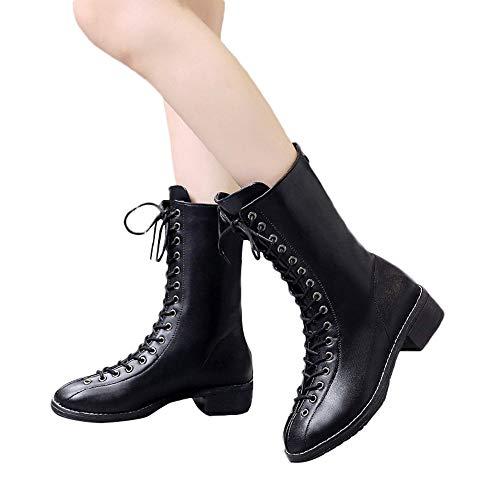 Geili Damen Schnürstiefel Halbschaft PU Leder Stiefel mit Blockabsatz Frauen Coole Schnürstiefeletten Keilabsatz Wasserdicht Boots Cowboystiefel Reiterstiefel Biker Booties