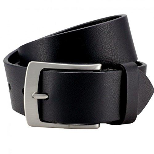 LINDENMANN Vollbüffel 4mm Echt Leder-Gürtel Herren / Vollleder-Gürtel Herren, Jeansgürtel XXL, schwarz, Größe / Size:110