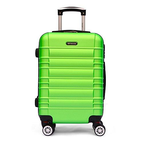 SHAIK SerieCLASSIC JFK Design Hartschalen Trolley, Koffer, Reisekoffer 4 Doppelrollen Zwillingsrollen, Zahlenschloss (Handgepäck, Grün)