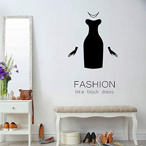 zhuziji Stile Moda Abbigliamento Adesivi murali Soggiorno Boutique Abito Abito Nero Vinile Adesivo da Parete Decorazioni Camera da Letto Accessori 57x93cm