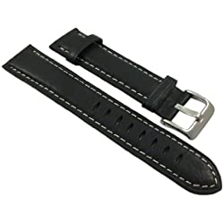 22mm Calf leather watch strap band in vintage-look in black with buckle in silver