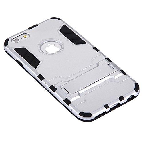 Phone case & Hülle Für iPhone 6 Plus / 6s Plus, separier TPU + PC Kombi-Gehäuse mit Halter ( Color : Dark blue ) Silver