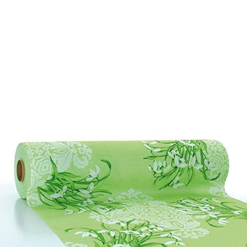 Sovie HORECA Linclass® Airlaid Tischläufer Melanie 40 cm x 24 m | Tischdecken-Rolle stoffähnlich | praktische Einmal-Tischdecke für Hochzeit oder Partys | Grün (Für Hochzeiten Grüne Tischdecken)