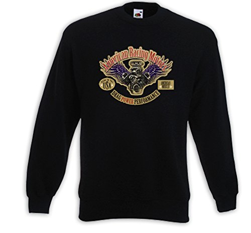 Hot Rod Pullover Racing Motors USA Rockabilly US Custom V8 Dragster Schwarz