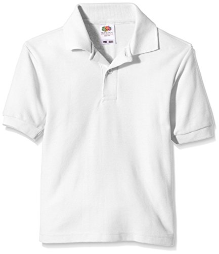 Fruit of the Loom Jungen T-Shirt Pique Polo, Weiß (White), Gr. 12-13 Jahre