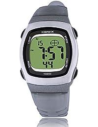 Reloj electrónico digital de múltiples funciones de los ni?os,Jalea led 100 m resina resistente al agua correa alarma cronómetro hora dual chicas o chicos moda reloj de pulsera-B