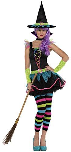 Neon Hexe Kostüm Teen - groß - Im Alter von 16 Jahren (Hocus Pocus Halloween-kostüm)