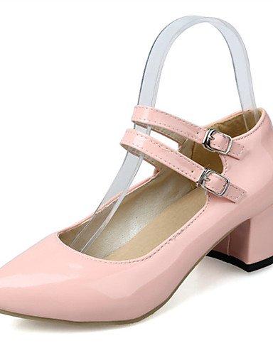 WSS 2016 Chaussures Femme-Mariage / Habillé / Décontracté / Soirée & Evénement-Noir / Rose / Blanc-Gros Talon-Talons-Talons-Similicuir pink-us6.5-7 / eu37 / uk4.5-5 / cn37