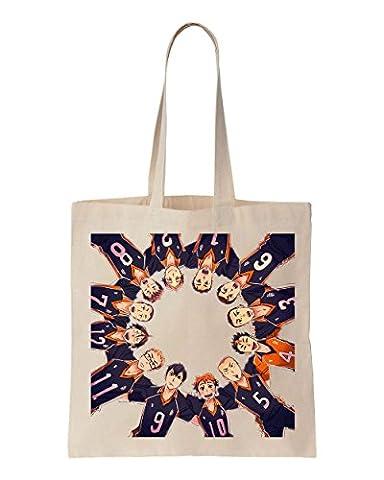 Haikyuu Members Standing In A Perfect Circe Artwork Cotton Canvas Tote Bag