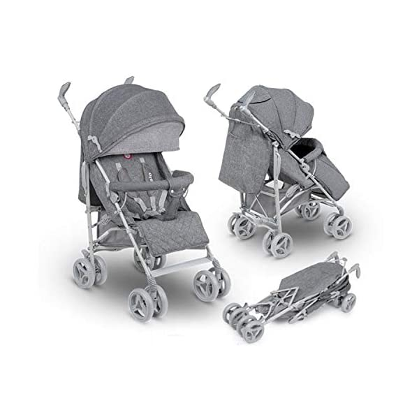 Lionelo Irma Folding Stroller with Backrest Adjustment 6 Inch Wheels (Gray) Lionelo ▶ 4-stage backrest adjustment from seat to reclining position. The child can sleep comfortably and quietly. ▶ The handles can be rotated 360 degrees to improve the well-being of a parent. ▶ Light and easy to fold frame ▶ can be folded up in any car boot or can also be used as a perfect travel companion on the plane 1