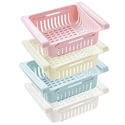 Einstellbare Lagerregal Kühlschrank Partition Layer Organizer, ausziehbare Kühlschrank Schublade Organizer, Kühlschrank Aufbewahrungsbox (4 Stück)