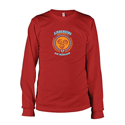 TEXLAB - Airbending University - Langarm T-Shirt, Herren, Größe XL, rot