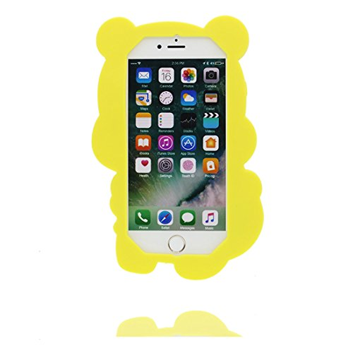 "iPhone 6 Plus Hülle, TPU materielles flexibles, Case iPhone 6S Plus / 6s Plus Handyhülle iPhone 6 Plus Cover 5.5"", [Schock-Beweis] [Ziemlich weich Kunststoff] Ring Ständer- Cartoon Bär Honey 3D Cute gelb 2"