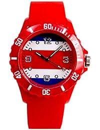 Zohong New World Cup Rusia 2018 - Reloj de Pulsera Unisex con Bandera de Costa Rica