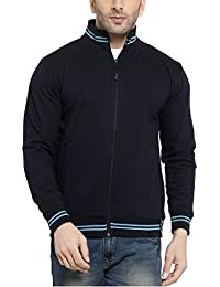 Scott International AWG Men's Rich Cotton High Neck Hoodie Sweatshirt - Navy Blue