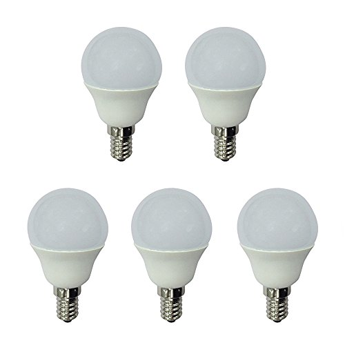 5 bombillas LED esfericas de 5,2w E14, luz neutra
