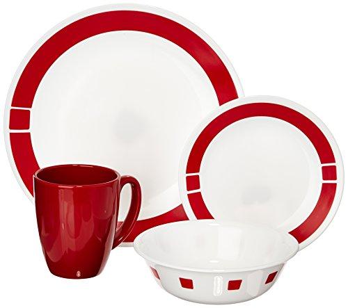 Corelle Livingware - Servizio di piatti e tazze per 4 persone, composto da 16 pezzi Urbano rosso