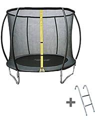 Trampoline 245cm gris BRONTE avec filet de protection et son échelle