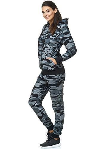 Violento Damen Jogging-Anzug | 100% Baumwolle | Trainings-Jacke mit Reißverschluss |Hose mit Tunnelzug und Zugband | Uni 586 | S-3XL (XXL, Camouflage) (Hose Rosa Anzug)