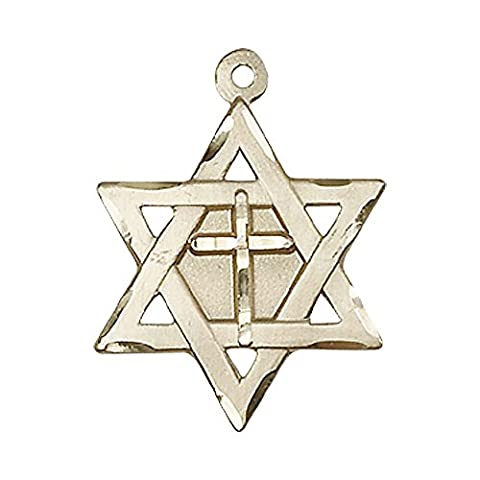 14ct Gold Star of David W/ Cross Medal. Includes deluxe flip-top gift box. Medal/Pendant measures 7/8