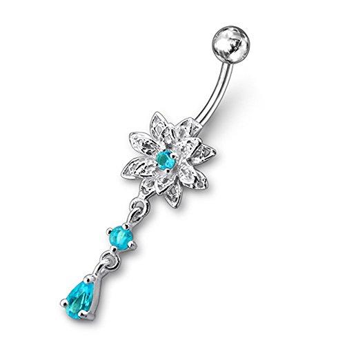 Bijou de Corps Anneau de nombril Argent Sterling 925 motif Fleur pierres fantaisies avec Pendant en pierres en forme de rond et de larme Light Blue