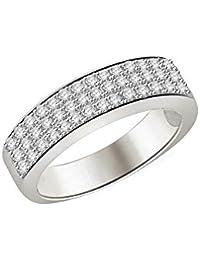 Silvernshine 0.78 Ct Round Cut Sim Diamond Women's Anniversary Band Ring In 14K White Gold PL