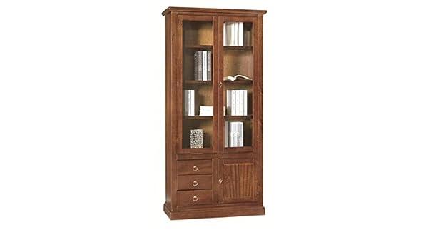 Credenza Vetrina Arte Povera Miglior Prezzo : Estea mobili vetrina legno arte povera colore noce scuro