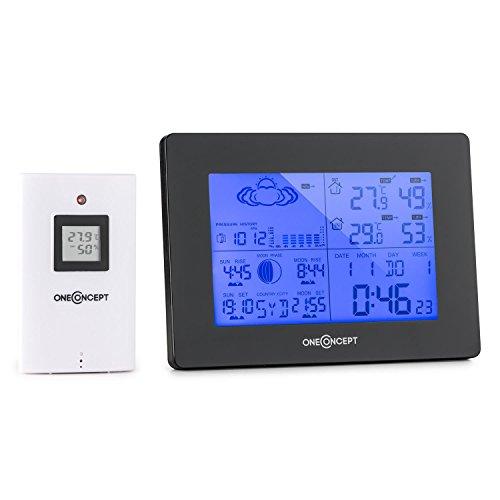 OneConcept Bergen • Funk Wetterstation • Außensensor • Batteriebetrieb • Temperaturmessung • Luftfeuchtigkeits- und Luftdruckanzeige • Mondphasen-Anzeige • schwarz