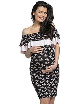 HAPPY MAMA Prémaman L'allattamento Midi Scollo Bardot Bodycon Vestito.572p