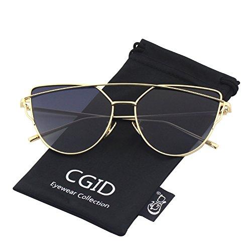 CGID Mode Polarisierte Katzenaugen Sonnenbrille For Damen UV400 reflektierenden Spiegel,Gold Grau