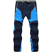 SiDiOU Group Pantalones de trekking Hombre Pantalones de softshell Pantalones de montaña Al aire libre Pantalones impermeables Resistente al viento transpirable Lana Forrado Pantalones de escalada (M 33 (cintura 84-94cm), Azul)