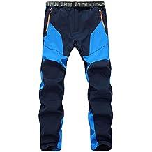 SiDiOU Group Pantalones de trekking Hombre Pantalones de softshell Pantalones de montaña Al aire libre Pantalones impermeables Resistente al viento transpirable Lana Forrado Pantalones de escalada (L 34 (cintura 88-98cm), Azul)